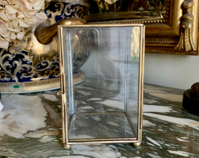 Featured listing image: Glass Mirrored Display Box,  Brass Glass Footed Vertical Box, Glass Box with HInged Door, Glass Terrarium, Small Bun Feet