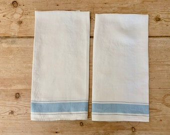 Blue White Linen Tea Towel, Large Hand Towel, Vintage Linen Tea Towel, Blue White Kitchen Decor, 2 Available Each Sold Separately