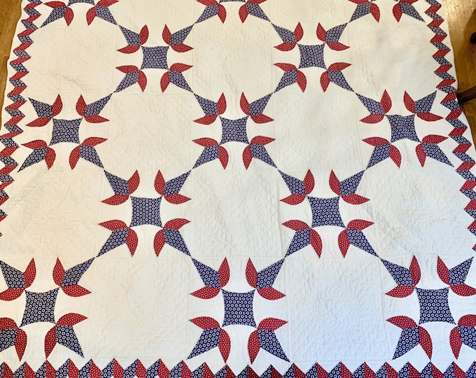 Featured listing image: Handmade Red Blue White Quilt Coverlet, Queen Size 84 x 100 Inches, Cottage Farmhouse Bedding, Country Decor