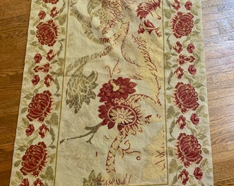 Vintage Needlepoint Rug, French Country Cottage Floral Rug, Beige Rust Sage Green Light Yellow Colors, 33.75 x 59 inches, French Cottage