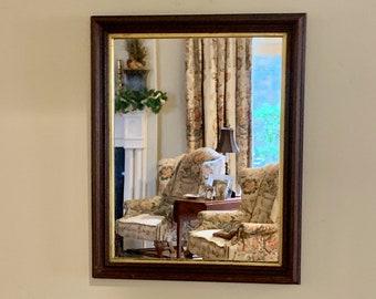 Antique Mahogany Framed Mirror, Gold Liner, 19 x 25 Inch Image Size, 24 x 30 Overall Size Mirror, Country Farmhouse Decor