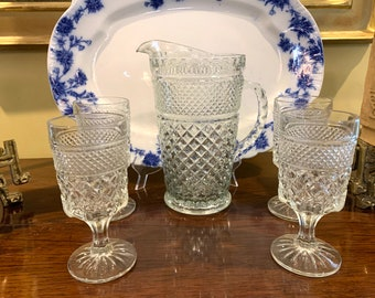 Wexford Pitcher Goblet Set,  Wexford Diamond Point Pitcher 4 Beverage Goblets, 5 Piece Set, Excellent Condition, Cottage Farmhouse Glassware