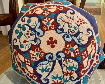 Chinoiserie Petit Point Pillow, Vintage Needlepoint Octagon Shaped Decorative Pillow, Blue Cinnabar Red, Tan, Asian Chinoiserie Decor