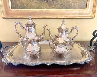 Silver Plate Coffee Tea Service Set, 4 Piece Silver Service Set with Footed Butler's Tray, Vintage Tea Service Set with Tray, Wedding Bridal