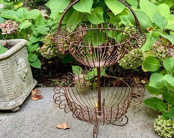 Iron Flower Planter, Vintage Rustic Iron Double Flower Container, Iron Plant Stand, Cottage Farmhouse Garden Decor, French Country
