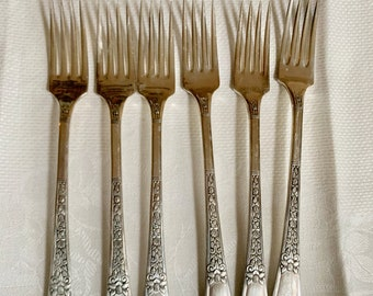 Six Silver Plate Grille Forks, Simon L George Rogers SilverPlate Luncheon Forks Set of 6, Late Art Deco Flatware,  Mix Match Flatware