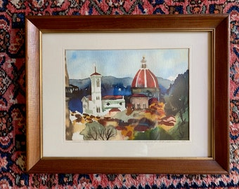 Vintage Signed Watercolor 1980, Scene of Florence Italy, Framed Watercolor, Bright Vibrant Colors, 8 3/8 x 11.25 inches,