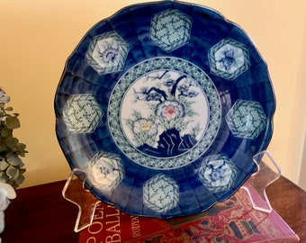 Blue White Chinoiserie Plate, Vintage Asian Toyo Scalloped Plate, Shallow 8 Inch Asian Bowl, Chinoiserie Decor, French Country