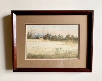 Vintage Signed Watercolor, Bill Hill Signed 1978 Watercolor of House in Distance, Wooden Frame, Country Farmhouse Decor, Art Lover Gift