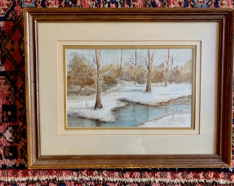 Vintage Snow Scene Watercolor, Alabama Artist Louise West, Framed 8x 10 Watercolor, Original Signed Watercolor Painting,