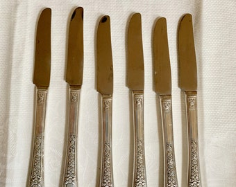 Silver Plate Knives, Set of 6 Grille Knives Simon L & George Rogers Silver Plate Flatware Floral Pattern, 6 Silver Plate Luncheon Knives