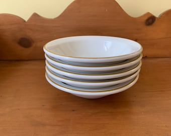 Jackson China Cereal Bowls Set of 5, White with Gold Rim, Restaurant Ware Cereal Bowls, Fruit Bowls, Small Salad Bowls
