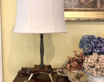 Art Deco Wood Brass Table Lamp, Modern Style Table Lamp, Office Lamp, Desk Lamp