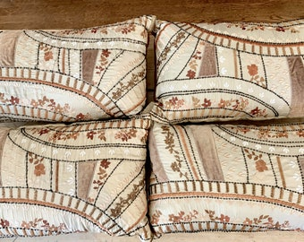 Vintage Pier I Embroidered Pillow, Beige Brown Black Boho Beaded Pillow Cover and Form, 11 x 19 Inches, Available Each Sold Separately