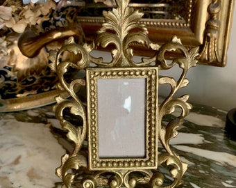 Small Art Nouveau Style Brass Photo Frame, Vintage Decorative Brass Picture Frame, 2 x 3 image, French Country, Keepsake Photo Frame Gift