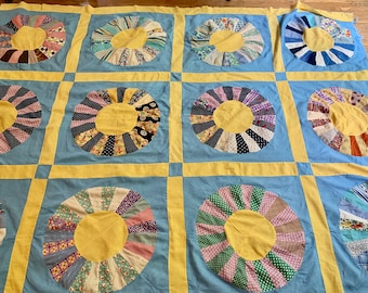 Vintage Dresden Quilt Top, Handmade Pieced Blue Yellow Dresden Quilt Top, 66 x 80 Inches, DIY Quilting Project, Country Farmhouse