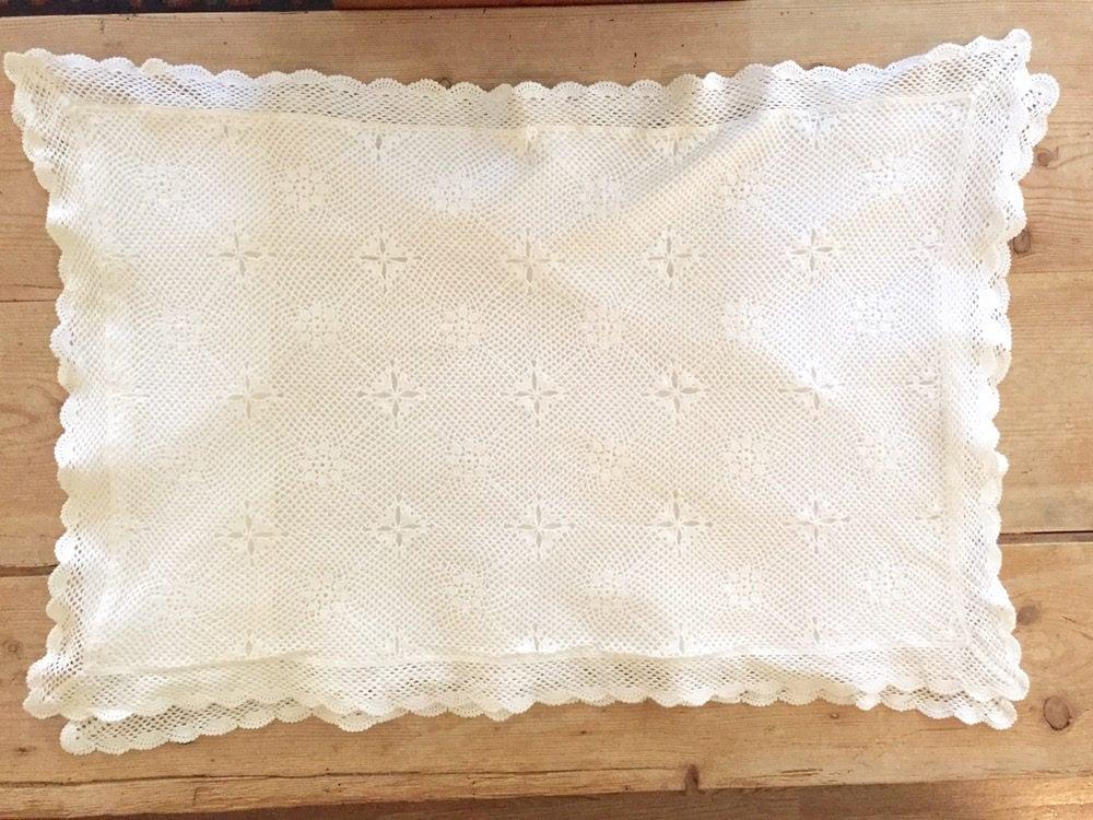 Reserve S White Crochet Pillow Shams Pair Vintage White Standard