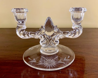 Glass Candleholder, Mid Century Double Arm Glass Candelabra with Etched Flower Scroll Arms, Collectible Glass, Holiday Decor