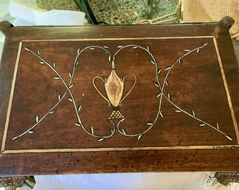 Signed Handmade Wooden Jewelry Box, Late Art Deco, Folk Art Walnut Jewelry Box, Signed J Young 1941, Collectible Box Gift
