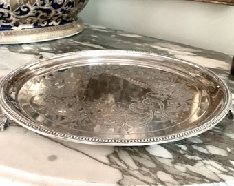 Antique Mappin Brothers Tray,  Round Footed 10 Inch Silver Plate English Tray, Intricate Engraved Design, Claw Feet, Vanity Perfume Tray,