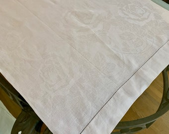 White Damask Table Runner, Hemstitched Linen Damask Table Scarf, Floral Pattern Design, 22 x 44 Inch Table Runner, Cottage Farmhouse Linens