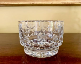 Crystal Footed Bowl with Cut Leaf Designs, Vintage Decorative Crystal Accent Bowl, Maple Leaf Cut Pattern, Faceted Base