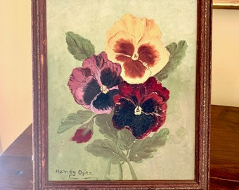 Vintage Pansy Painting Signed, Framed Acrylic 8 x 10 Floral Painting, Green Purple Yellow Colors, Mid Century Floral Painting,