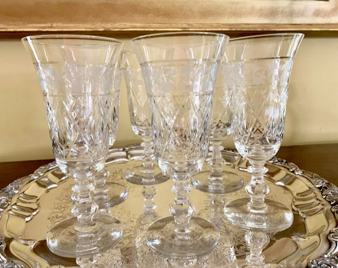 Featured listing image: Crystal Water Goblets, 6 Ice Tea Parfait Goblets, Vintage Cut Crystal with Gray Cut Floral Design, Crystal Wedding Bridal Gift