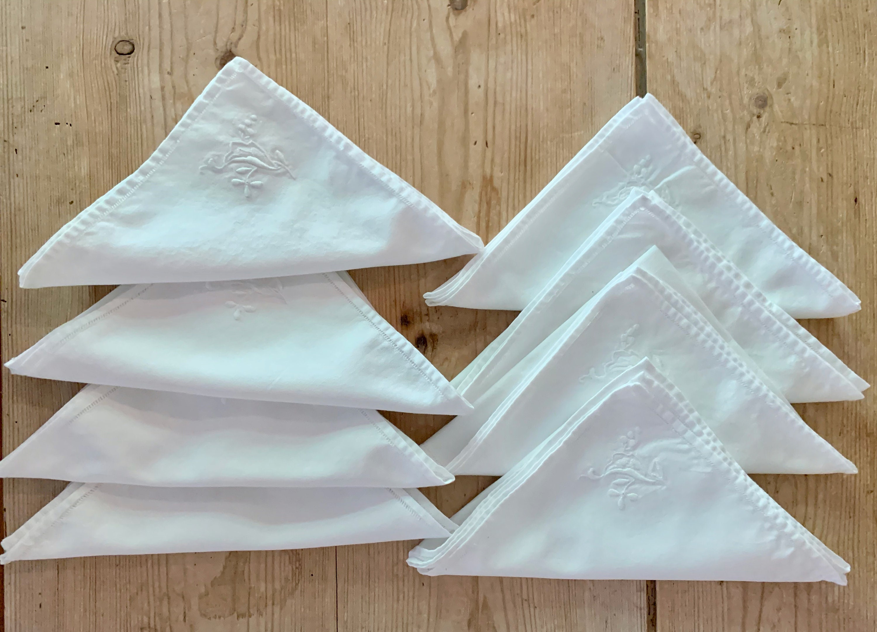 White Embroidered Napkins Set Of 8 Dinner Napkins 14 Inch Cottage Farmhouse Table Linens