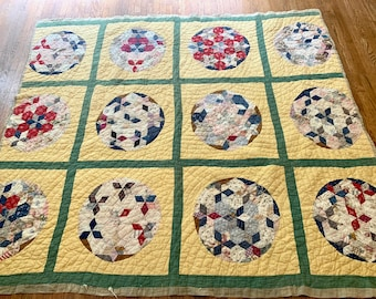 Vintage Pieced Quilt, Handmade Southern Quilt, Feed Sack Material, 58 x 63 Inches, Primitive Quilt Wall Hanging, Country Primitive Farmhouse