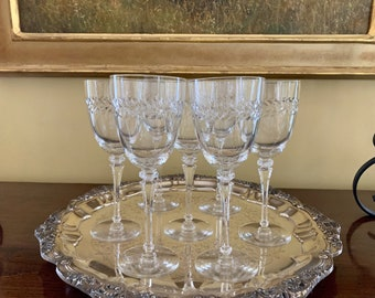 Tiffin Franciscan Water Goblets, Set of 7 Tiffin Priscilla Clear Goblets, Mid Century Crystal, Polished Cut Leaf Design, Wedding Bridal