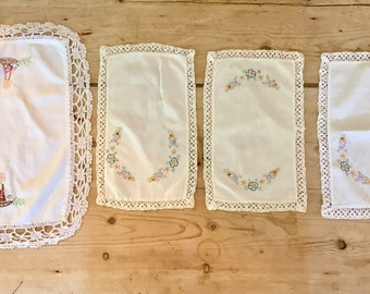Embroidered Doilies, Set of 4 Rectangle Embroidered Doilies, Floral Embroidery, Cottage Farmhouse Decor, Craft Supplies