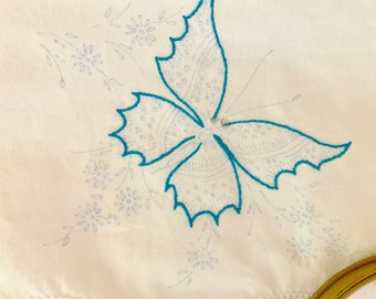 Pair of DIY Embroidered Pillowcases, Cotton Pillowcases, Sewing Project, Craft Project, Cottage Farmhouse Linens