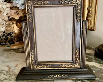 Art Deco Hinged Photo Frame, Brown with Gold Highlights, Late Art Deco 1930's Early 40's, 4 x 6  Vertical Image, Keepsake Photo Frame