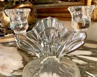 Iris Depression Glass Candlestick Holder,  Jeanette Glass Iris Herringbone 2 Light Candle Holder, Collectible Glass Candelabra,
