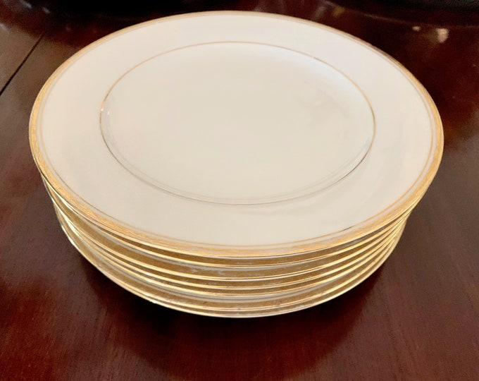 Featured listing image: Noritake Linton Salad Plates, Set of 7 Cream with Gold Line and Verge, Noritake Replacement China, Dinner Party Holiday China