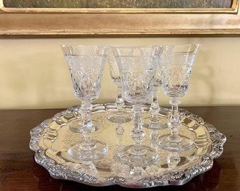 Crystal Wine Goblets, Set of 6 Cut Crystal Wine Goblets, Gray Cut Floral Design, Crystal Barware Gift, Vintage Crystal Goblets