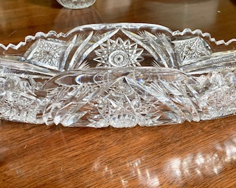 Cut Glass Celery Dish, Brilliant Cut Glass with Hobstar Pattern Sawtooth Scalloped Rim, Large Oval Heavy Cut Glass Serving Dish,