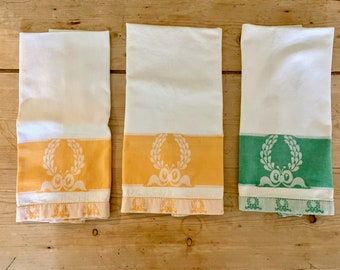 Cannon Tea Towels With Wreath Design, Orange White Tea Towel, Green White Tea Towel, 3 Available Each Sold Separately, 1970's Tea Towel
