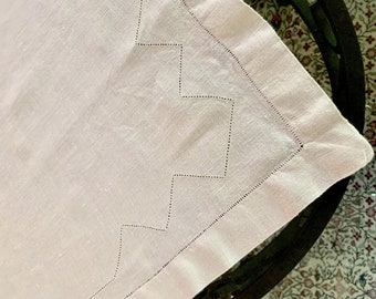 Ivory Linen Hemstitched Tablecloth,  Ecru Linen Table Topper 34 x 34 Inch, Centerpiece Table Topper, Cottage Farmhouse Linens