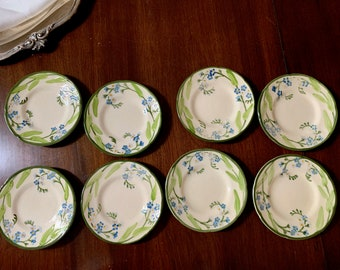 Franciscan Forget Me Not Bread Butter Plates, Set of 8 Bread Butter Dessert Plates, Franciscan Replacement china, Cottage Farmhouse