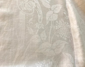 White Linen Damask Tablecloth, Vintage White Table Linens, Holiday Linens, Wedding Bridal Linens,