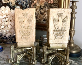 Heavy Brass Pillar Candle Holders, Carved Religious Candles, Decorative Religious Brass Candle Stands with Candles, Christian Gift Idea
