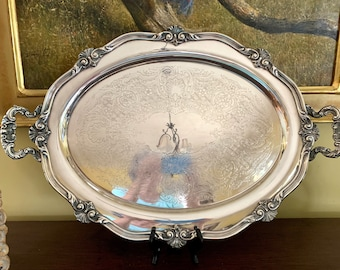 Large Silver Plate Waiter's Tray, Reed and Barton Regent Butlers Tray with Chased Design, 23 Inch Vintage Silver Plate Waiters Tray