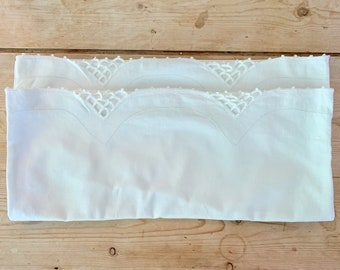 Pair Ivory Pillowcases,  Scalloped Hem with Decorative Corded Trim, Hemstitch Design, Vintage Ivory Standard Size Cotton Pillowcases