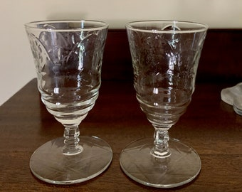 Rock Sharpe Crystal Juice Glasses Normandy Pattern, Pair of Cocktail Port Cordial Glasses, Cut Floral Arch, Star of David Design