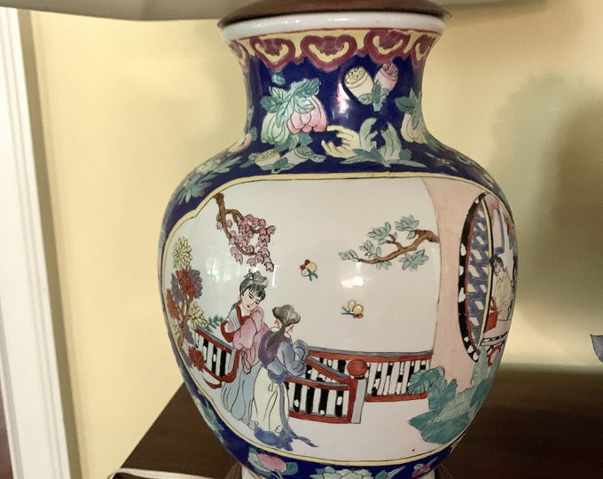 Featured listing image: Chinoiserie Lamp, Vintage Asian Ginger Jar Lamp, Asian Women on Bridge with Flowers, Dark Blue White Red Colors, Chinoiserie Decor