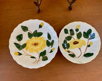 Blue Ridge Southern Pottery Fruit Bowl Yellow Nocturne, Blue Ridge Mountains Hand Art Mountain Glory Fluted Fruit Bowl, Sold as Set of 2