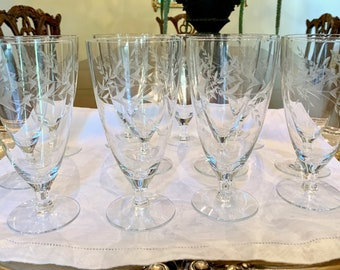 Crystal Ice Tea Goblets, Set of 12 Mid Century Gray Cut Leaves, Excellent Condition, Holiday Entertaining, Wedding Bridal Gift
