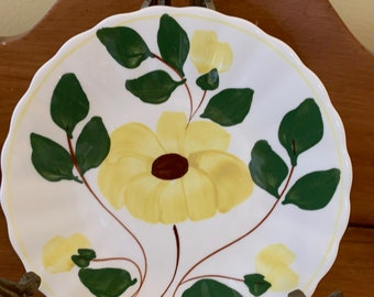 Blue Ridge Southern Pottery Bread and Butter Plates, Set of 4 Yellow Nocturne Bread Butter Plates, Colonial Fluted Yellow Flower with Buds